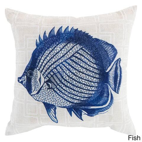 Blue Sea Print Indoor/Outdoor Decorative Throw Pillow