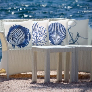 Blue Sea Print Indoor/Outdoor Decorative Throw Pillow