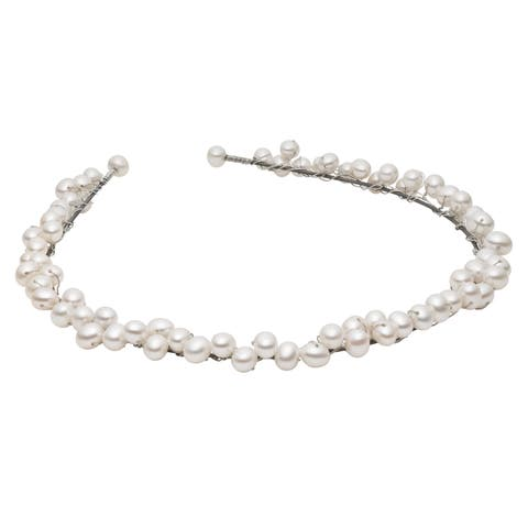 Pearlyta Steel White Pearl Wedding Head Band with Ribbon (6-7 mm)