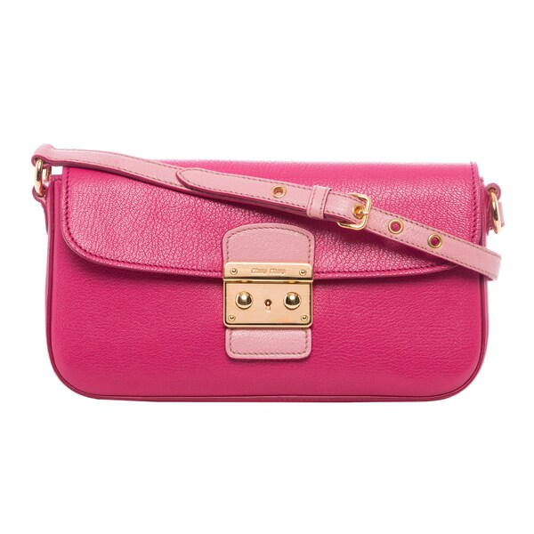 Miu Miu 'Madras' Fuchsia Bicolored Leather Shoulder Bag