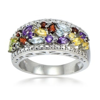 Glitzy Rocks Silvertone 1 1/6ct TGW Multi Gemstone Diamond Accent Ring