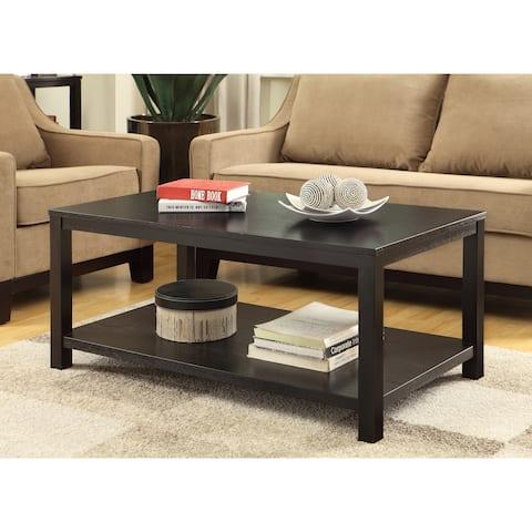 OSP Home Furnishings Merge Rectangular Cocktail Table w/ Wood Grain Finish & Solid Wood Legs