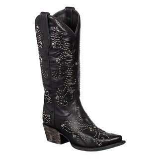 Women's 'Alyssa' Black Leather Silvertone Studded Cowboy Boots