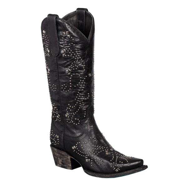 Women's 'Alyssa' Black Leather Silvertone Studded Cowboy Boots