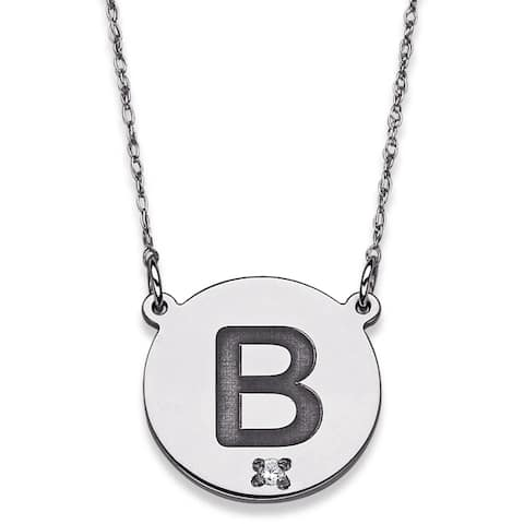 Sterling Silver 1/10ct TDW Diamond Initial Disc Necklace (J-K, I2-I3)