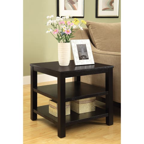 """OSP Home Furnishings Merge 20"""" Square End Table with Solid Wood and Tiered Shelves"""