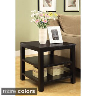 Square End Table w/ Solid Wood Legs & Three Wood Grain Finish Shelves