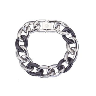 Black Ceramic and Stainless Steel Large Link Fashion Bracelet By Ever One