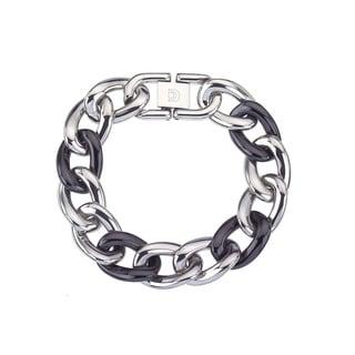 Black Ceramic and Stainless Steel Large Link Fashion Bracelet