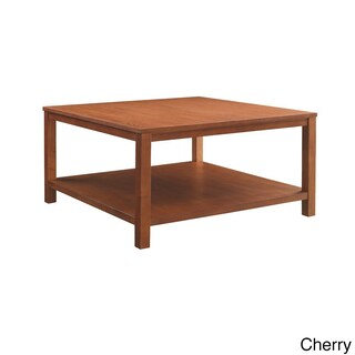 Square Coffee Table w/ Dual Shelves Solid Wood Legs & Wood Grain Finish (4 options available)