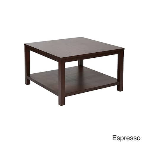 Square Coffee Table with Dual Shelves Solid Wood Legs & Wood Grain Finish