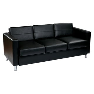 Pacific Faux Leather Sofa Couch w/ Spring Seats and Silver Color Legs