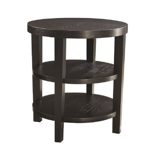 Round End Table w/ Solid Wood Legs & Three Round Wood Grain Finish Shelves (2 options available)