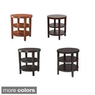 Round End Table w/ Solid Wood Legs & Three Round Wood Grain Finish Shelves
