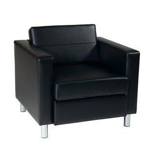 OSP Home Furnishings Pacific Armchair with Inner-Spring Seat and Silver Color Legs