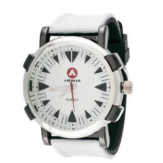 Airwalk Men's Round Sport Watch with White Rubber Strap