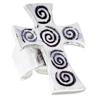 Antiqued SIlverplated Cross and Spirals Fashion Ring (India)