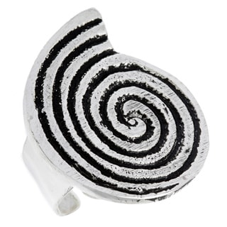 Silverplated Spiral Shell Shaped Antiqued Ring (India)