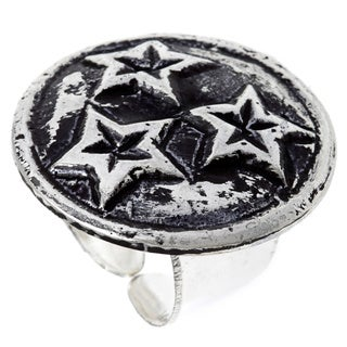 Hand-crafted Antiqued Silverplated Star Fashion Ring (India)