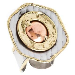 Handmade Mixed Metal Hexagon Copper Ball Fashion Ring (India)