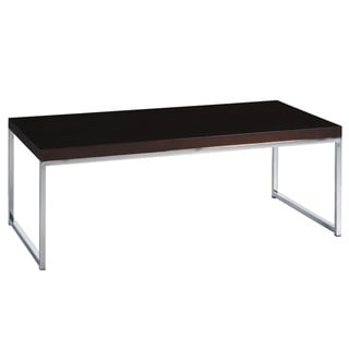 Copper Grove Cortinada Coffee Table w/ Wood Grain Top and Reflective Chrome-plated Metal Legs
