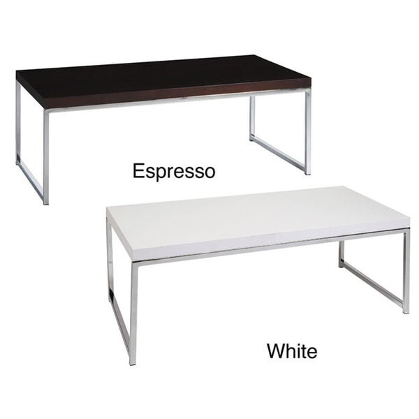 Main st coffee table w wood grain top reflective chrome plated metal legs free shipping Wood coffee table with metal legs