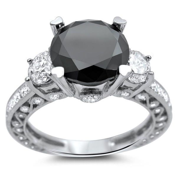 Noori 18k White Gold 3 4/5ct Certified Black and White Round Solitaire Diamond Ring
