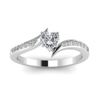 14k White Gold 1/2ct Heart Shaped Diamond Twisted Edge Engagement Ring by Fascinating Diamonds (H, SI2, GIA)