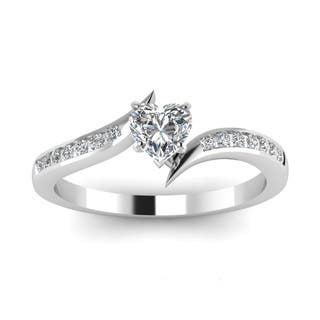 14k white gold 12ct heart shaped diamond twisted edge engagement ring by fascinating diamonds - Heart Shaped Diamond Wedding Ring