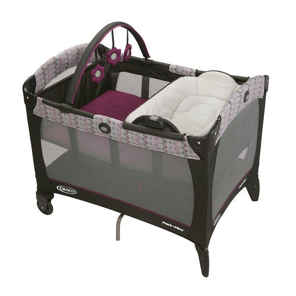 Shop Graco Nyssa Grey And Purple Pack N Play With