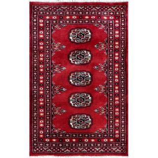 Herat Oriental Pakistani Hand-knotted Tribal Bokhara Red/ Ivory Wool Rug (2' x 3')