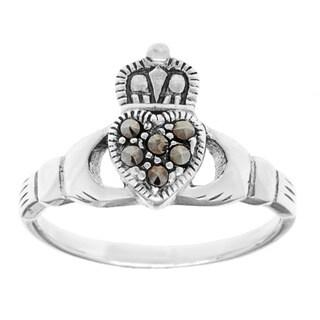 Sterling Silver Marcasite Irish Claddagh Ring|https://ak1.ostkcdn.com/images/products/8971449/P16179877.jpg?_ostk_perf_=percv&impolicy=medium