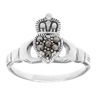 Sterling Silver Marcasite Irish Claddagh Ring - White (2 options available)