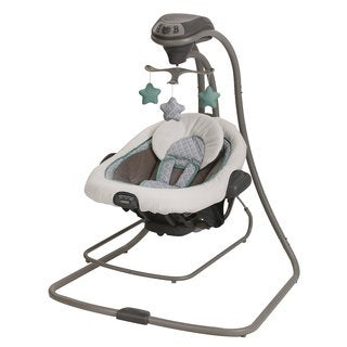 Graco DuetConnect LX Manor Grey Vibrating Musical Swing and Bouncer Set