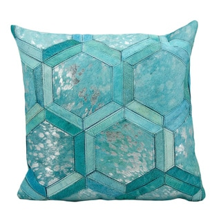 Michael Amini Metallic Hexagon Turquoise/Silver Throw Pillow (20-inch x 20-inch) by Nourison
