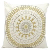 Mina Victory Beaded Sun Ivory/ Gold 18 x 18-inch Throw Pillow by Nourison