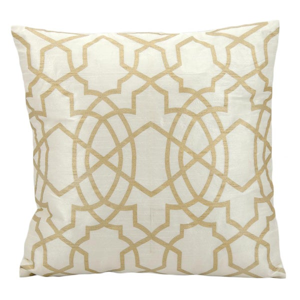 Superbe Mina Victory Lattice Ivory/ Gold 18 X 18 Inch Throw Pillow By Nourison