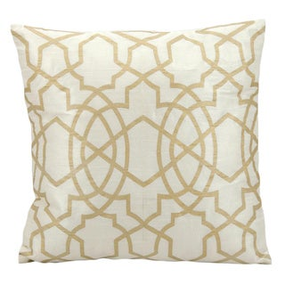 Mina Victory Lattice Ivory/ Gold 18 x 18-inch Throw Pillow by Nourison