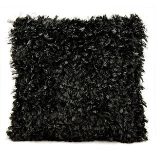 Michael Amini Shimmer Shag Black Throw Pillow (20-inch x 20-inch) by Nourison
