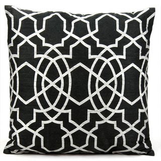 Mina Victory Lattice Black/ Silver 18 x 18-inch Throw Pillow by Nourison