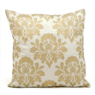 Michael Amini Damask Ivory/Gold Throw Pillow (18-inch x 18-inch) by Nourison
