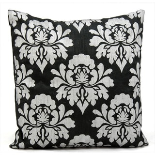 Mina Victory Damask Black/ Silver 18 x 18-inch Throw Pillow by Nourison