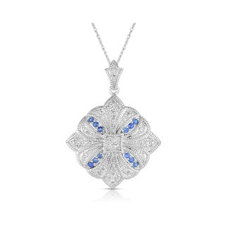 Eloquence 14k White Gold 1/3ct TDW Diamond and Sapphire Art-deco Necklace