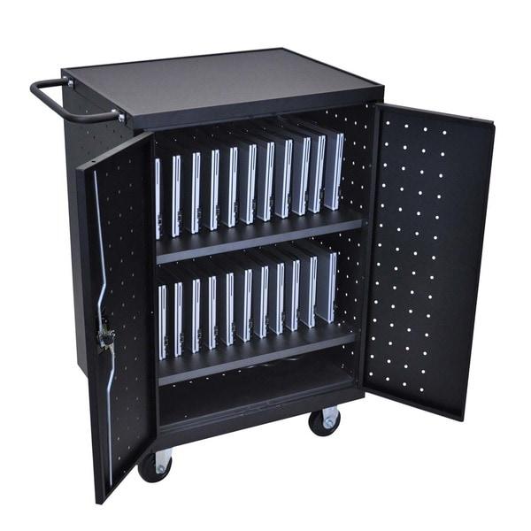 Offex Black 24 Laptop Computer Charging Cart