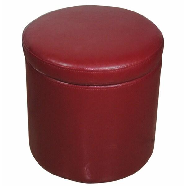 Red Round Storage Ottoman