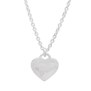 Sterling Essentials Silver Love Forever Engraved Heart Charm Necklace