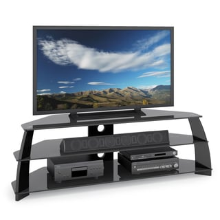 CorLiving Taylor Extra Wide Glossy Black Corner TV Stand with Glass Shelves