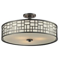 Avery Home Lighting Elea 3-light 20.5-inch Bronze Semi-flush Ceiling Mount with Matte Opal Glass