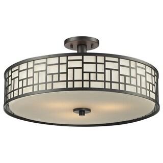 Z-Lite Elea 3-light 20.5-inch Bronze Semi-flush Ceiling Mount with Matte Opal Glass