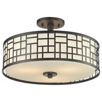 Avery Home Lighting Elea 3-light Bronze Semi-flush Ceiling Mount with Matte Opal Glass